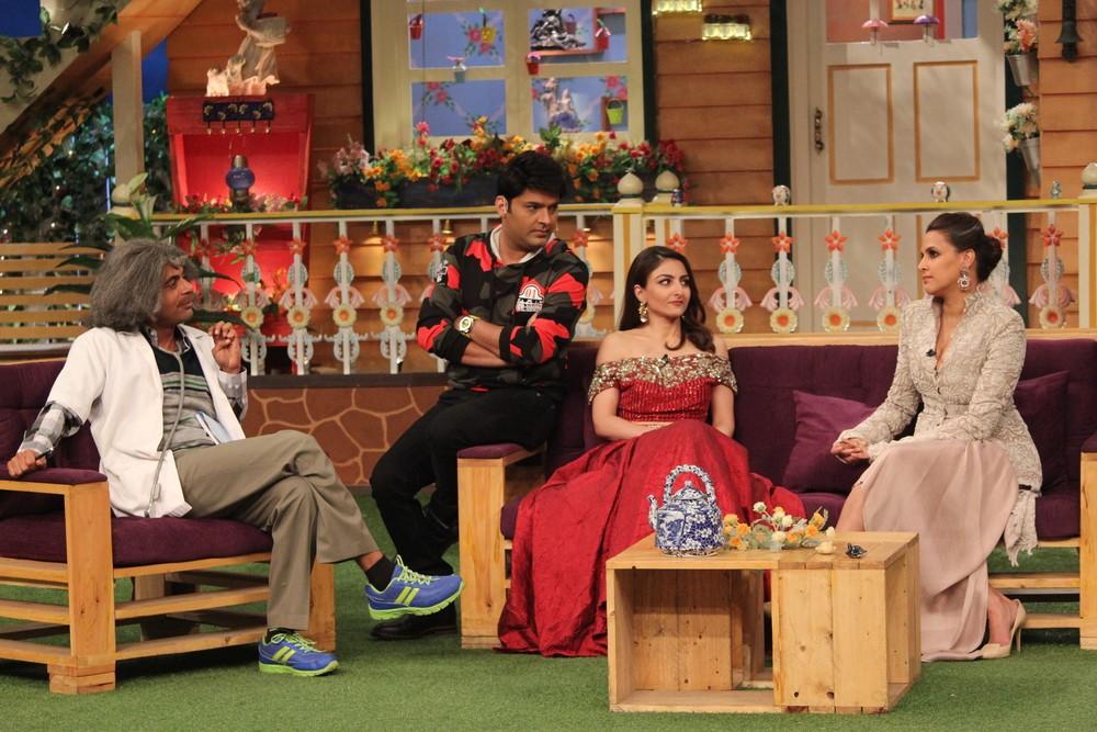 Soha Ali Khan,Neha Dhupia,Soha Ali Khan and Neha Dhupia,Soha Ali Khan on the set of Kapil Sharma Show,Neha Dhupia on the set of Kapil Sharma Show,Kapil Sharma Show