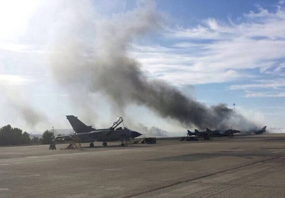 a fighter jet crashed at a NATO military base in south-eastern Spain killing 10 Greek and French nationals.