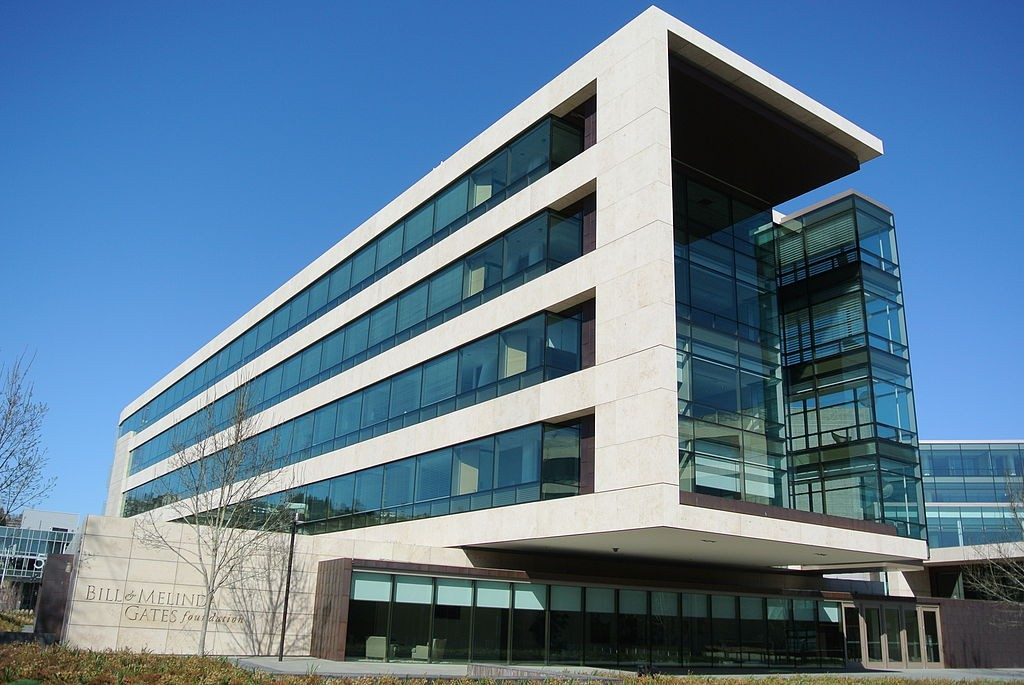 Photo: Front building of the Bill & Melinda Gates Foundation in Seattle