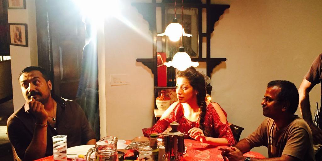 Rai Laxmi with Anurag Kashyap and AR Murugadoss on the set of Akira