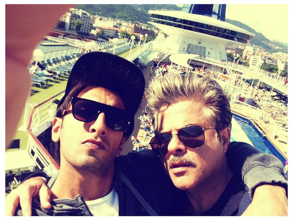 Ranveer Singh and Anil Kapoor during the shooting of 'Dil Dhadakne Do'