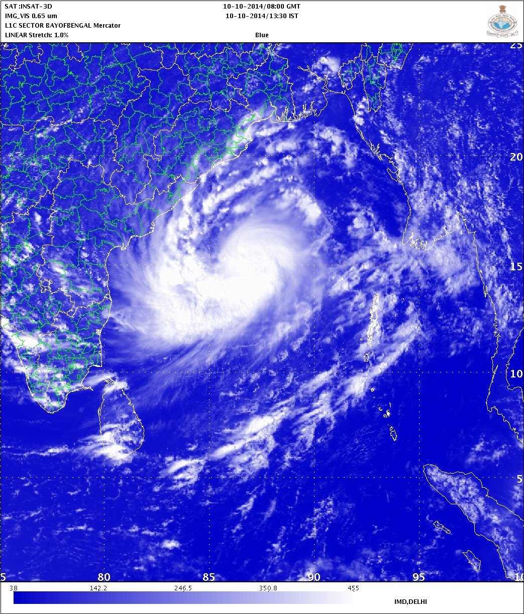 Cyclonic Storm Approaching Indian southern coast, where it will make landfall on 12 October.