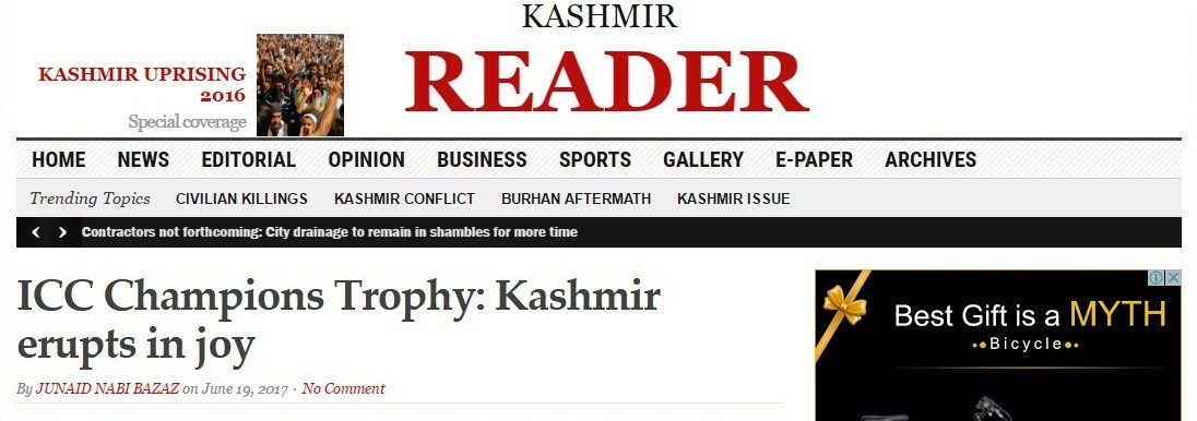 India vs Pakistan,Kashmir Reader