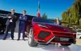 Filippo Perini, Stephan Winkelmann and Maurizio Reggiani next to Lamborghini Urus at Monterey (CA), US.