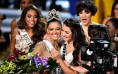Miss South Africa 2017 Demi-Leigh Nel-Peters (center L) embraces Miss Teen USA 2017 Sophia Dominguez-Heithoff (center R) as she is named the 2017 Miss Universe during the 2017 Miss Universe Pageant at The Axis at Planet Hollywood Resort & Casino on November 26, 2017 in Las Vegas, Nevada.