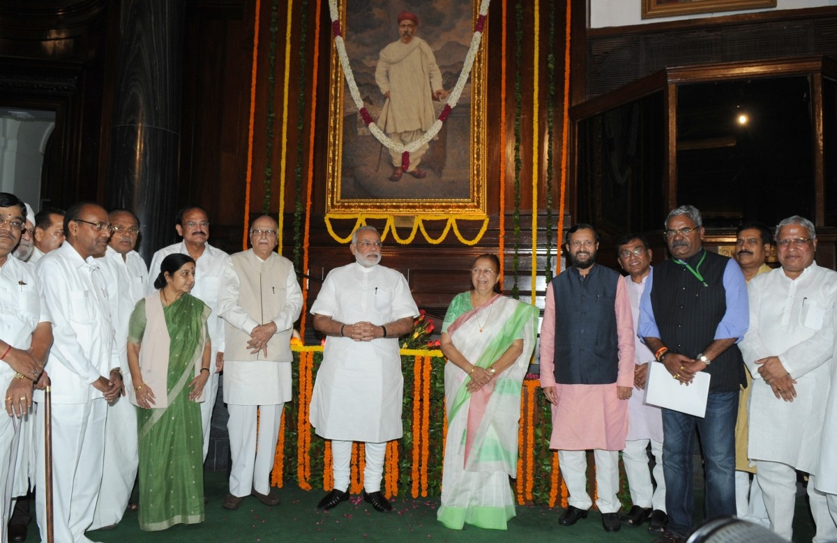 Modi, along with BJP leaders and union Ministers Sushma Swaraj, LK Advani and Venkaiah Naidu pays homage to Tilak in the Parliament.