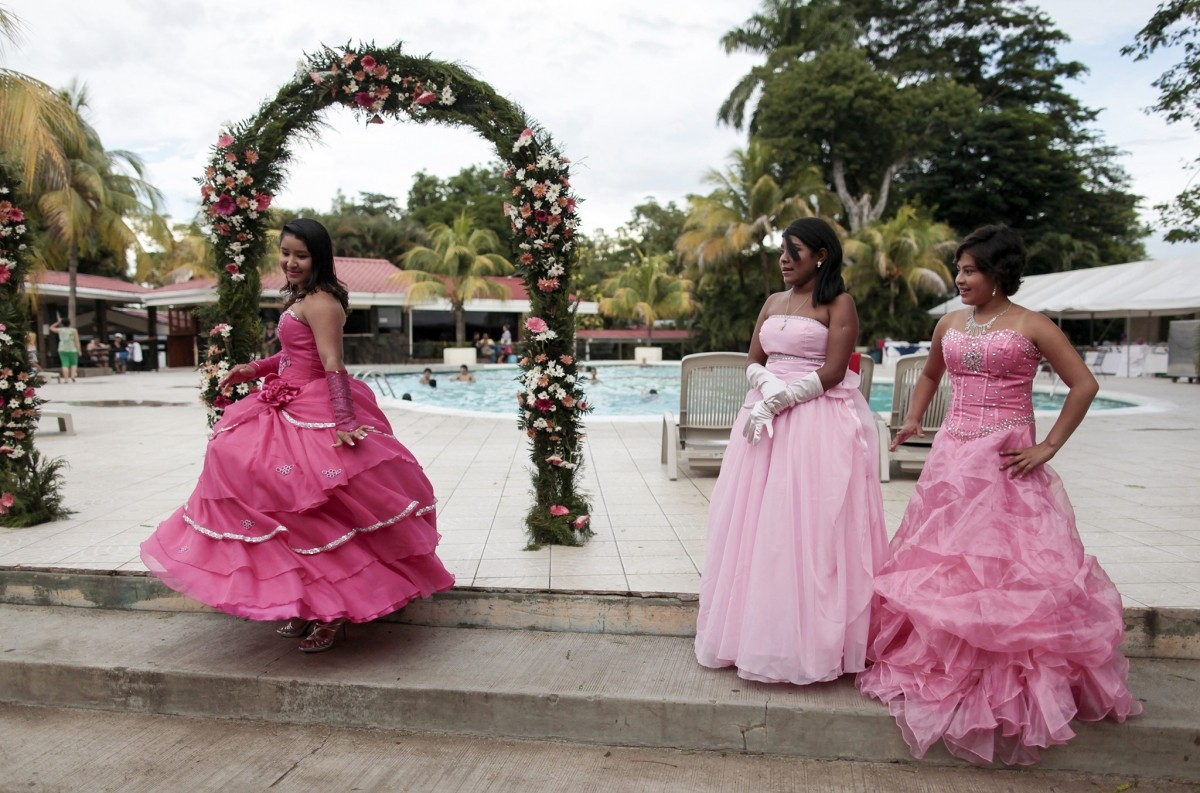 Female cancer patients take part in their Quinceanera party at a hotel in Managua
