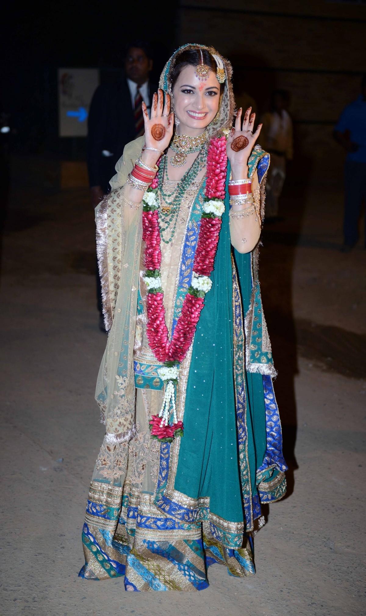 Dia Mirza Weds Long-Time Beau Sahil Sangha, Looks Splendid in Ritu Kumar Lehenga