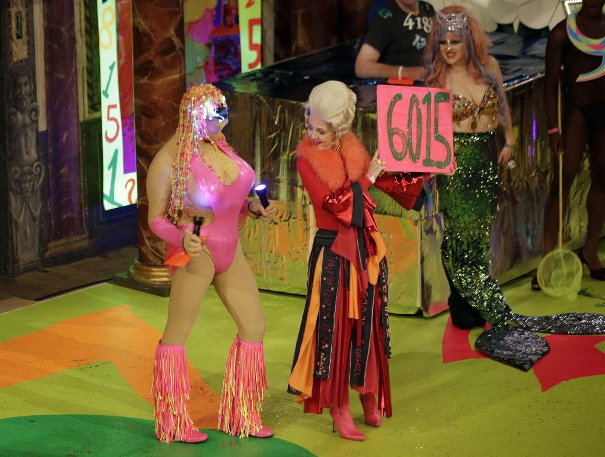 Swimwear portion of the Alternative Miss World contest at Shakespeare's Globe Theatre in London.