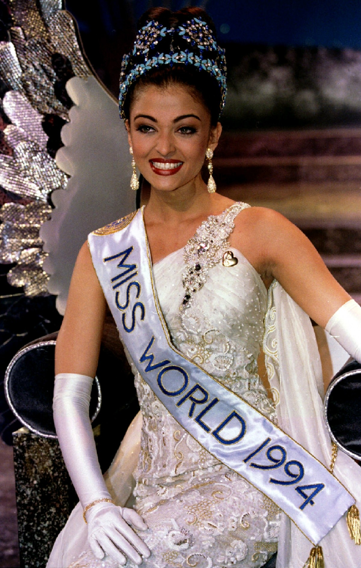 Miss India Aishwarya Rai sits on her throne moments after being crowned Miss World 1994 November 19