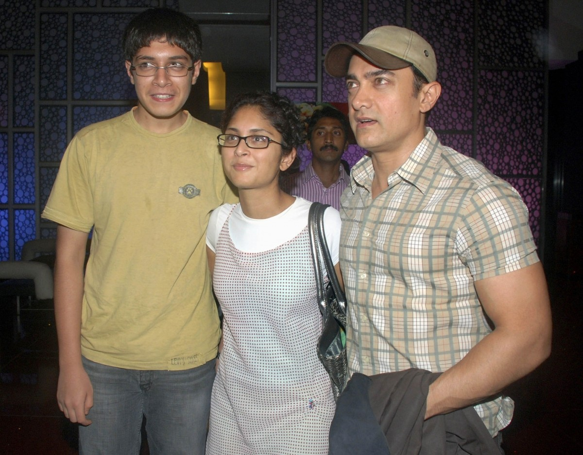 Bollywood star Aamir Khan  together with wife Kiran Rao and son Junaid