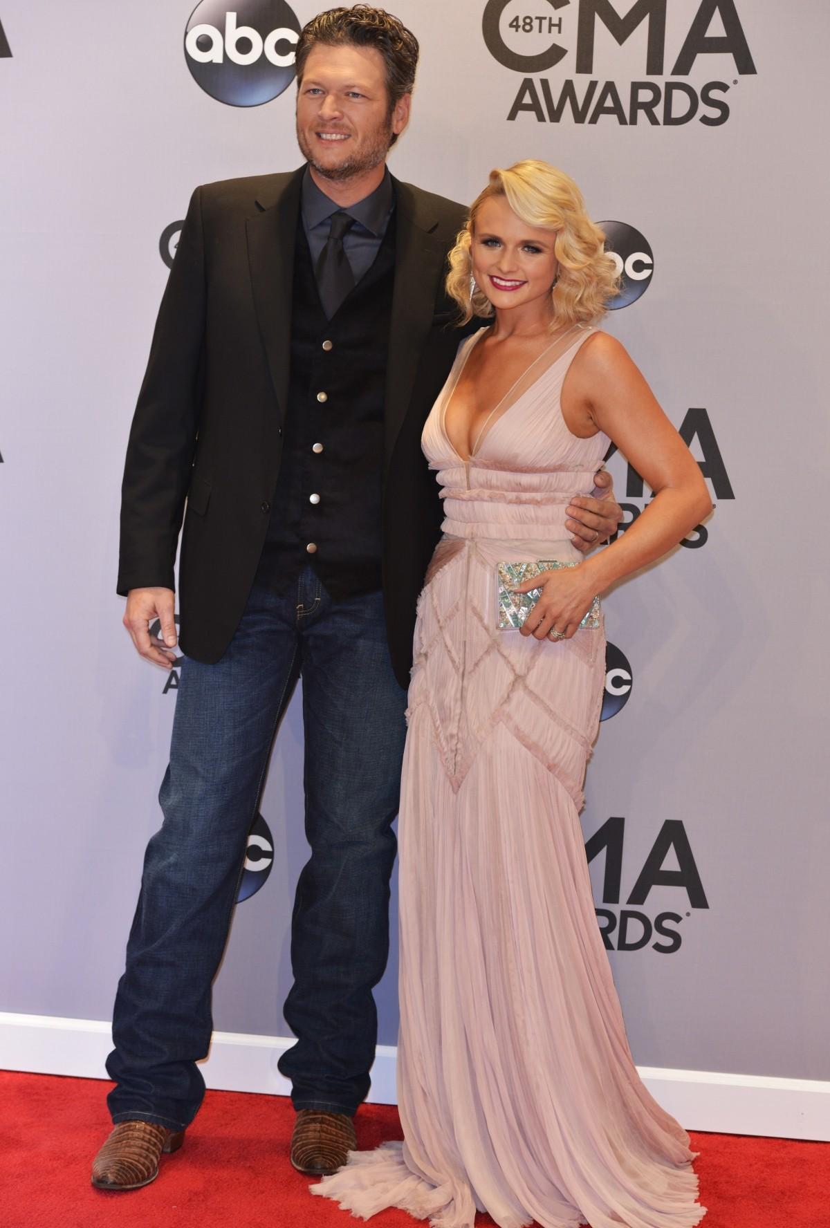 Blake Shelton and Miranda Lambert at CMA red carpet