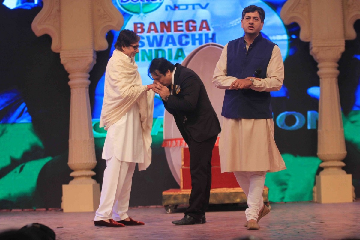 Govinda and Amitabh Bachchan during Banega Swachh India Cleanathon event