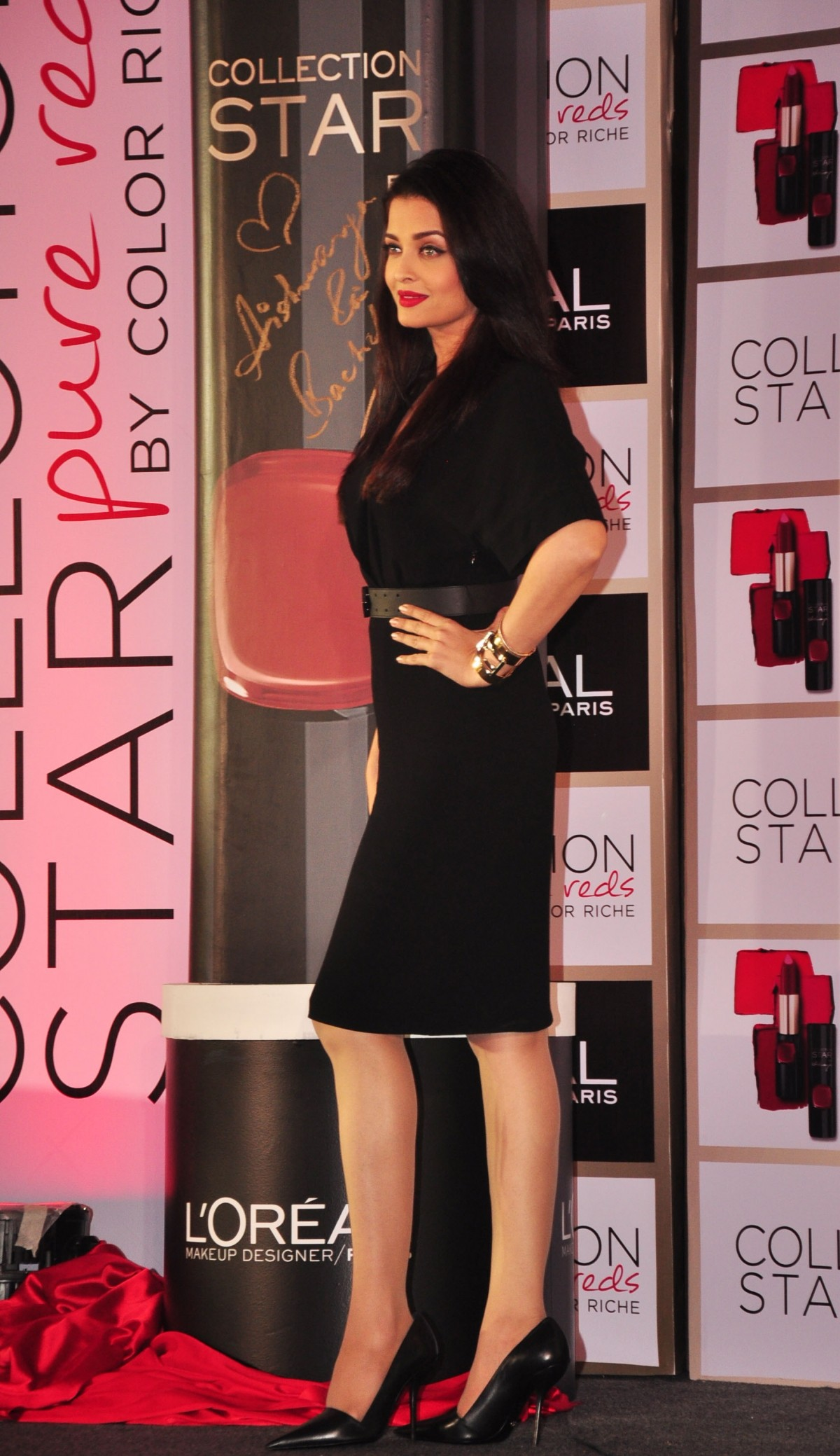 Aishwarya Rai Bachchan Charms in Black Dress at L'Oreal product launch event