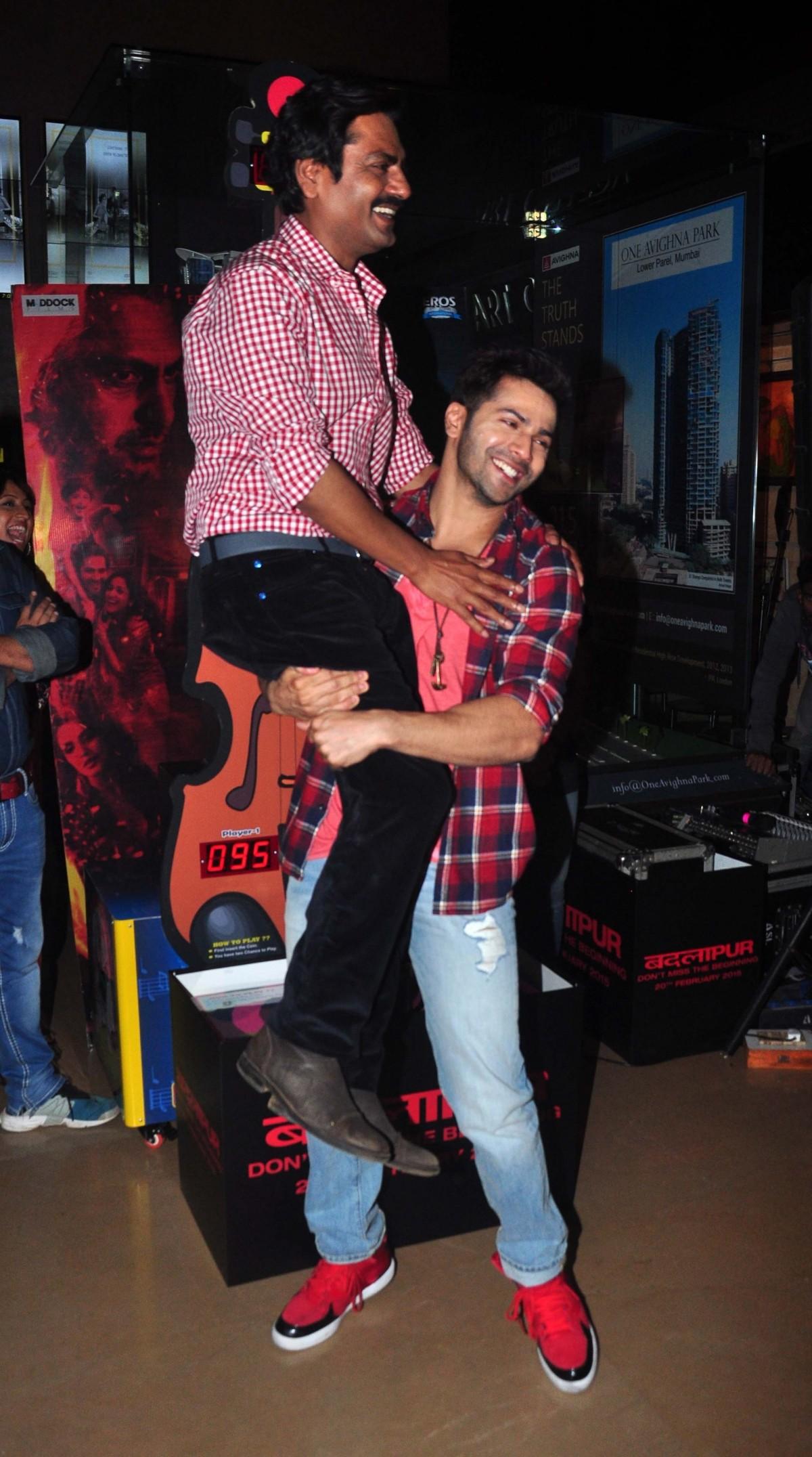 Varun Dhawan and Nawazuddin Siddiqui during 'Badlapur' promotions