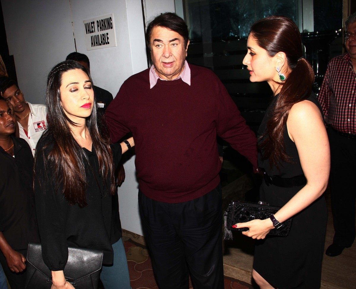 Randhir Kapoor with daughters Karishma and Kareena