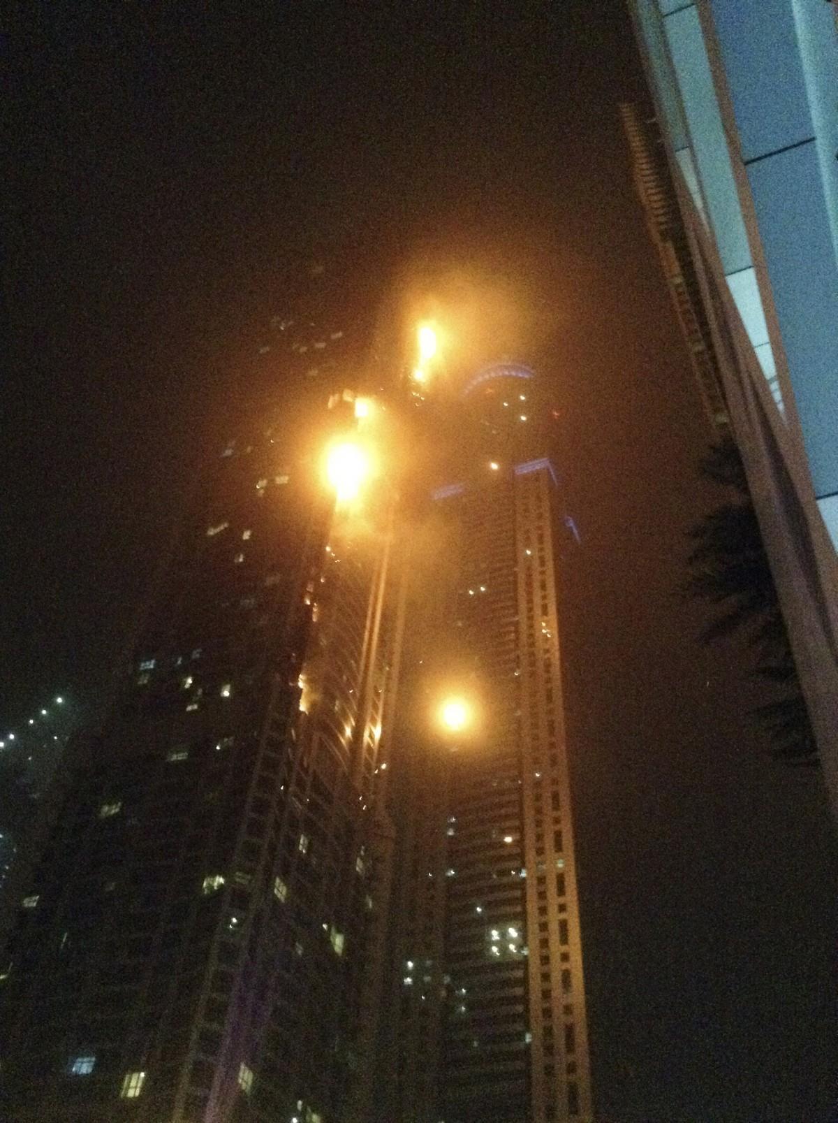 A fire blazes at