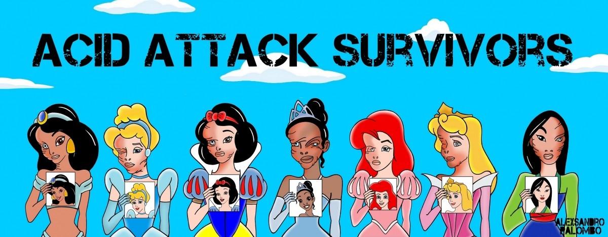 Stop Acid Attack Survivors Disney Princess Princesses Stop Acid Attacks Attack Women Human Rights Violence Art Awareness Campaign Artist aleXsandro Palombo WEB