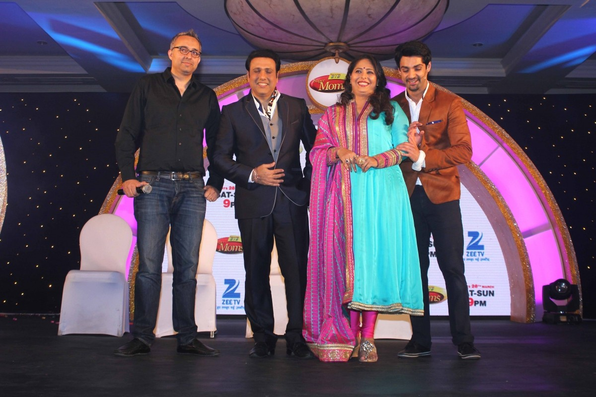Govinda, Geeta Kapur, Karan Wahi during the launch of Zee TV new reality show 'Dance India Dance Super Mom'