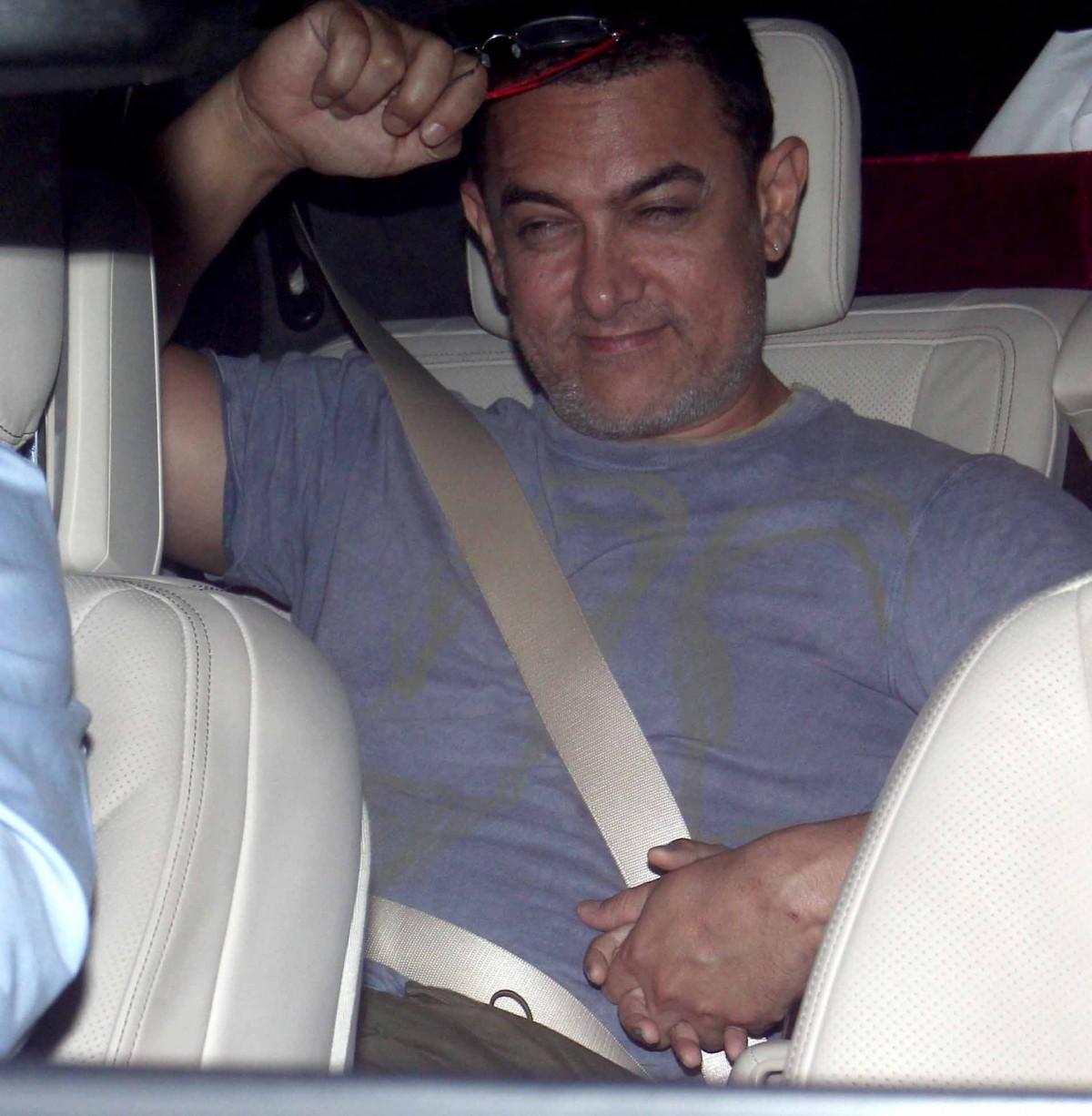 Aamir Khan attends 'Bombay Velvet' trailer launch success party