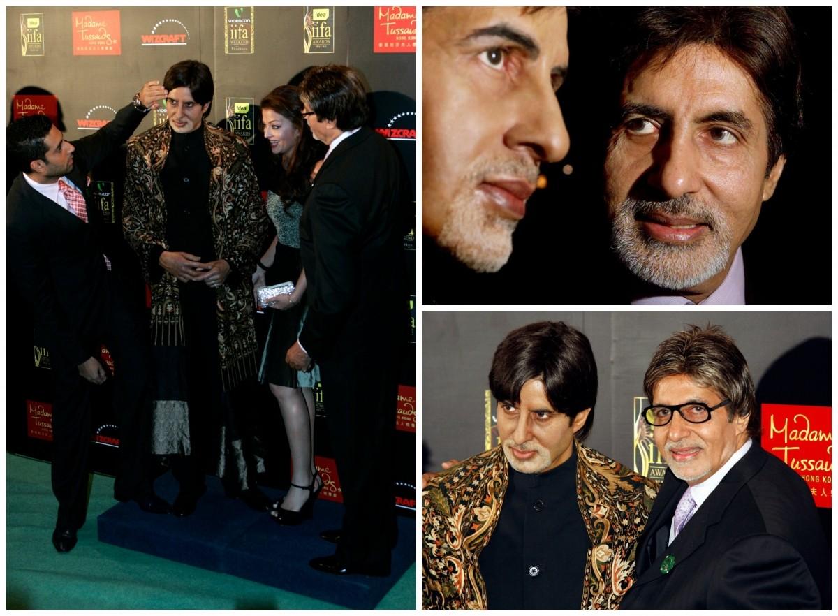 Amitabh Bachchan, Abhishek Bachchan and Aishwarya Rai Bachchan with Amitabh's wax statue