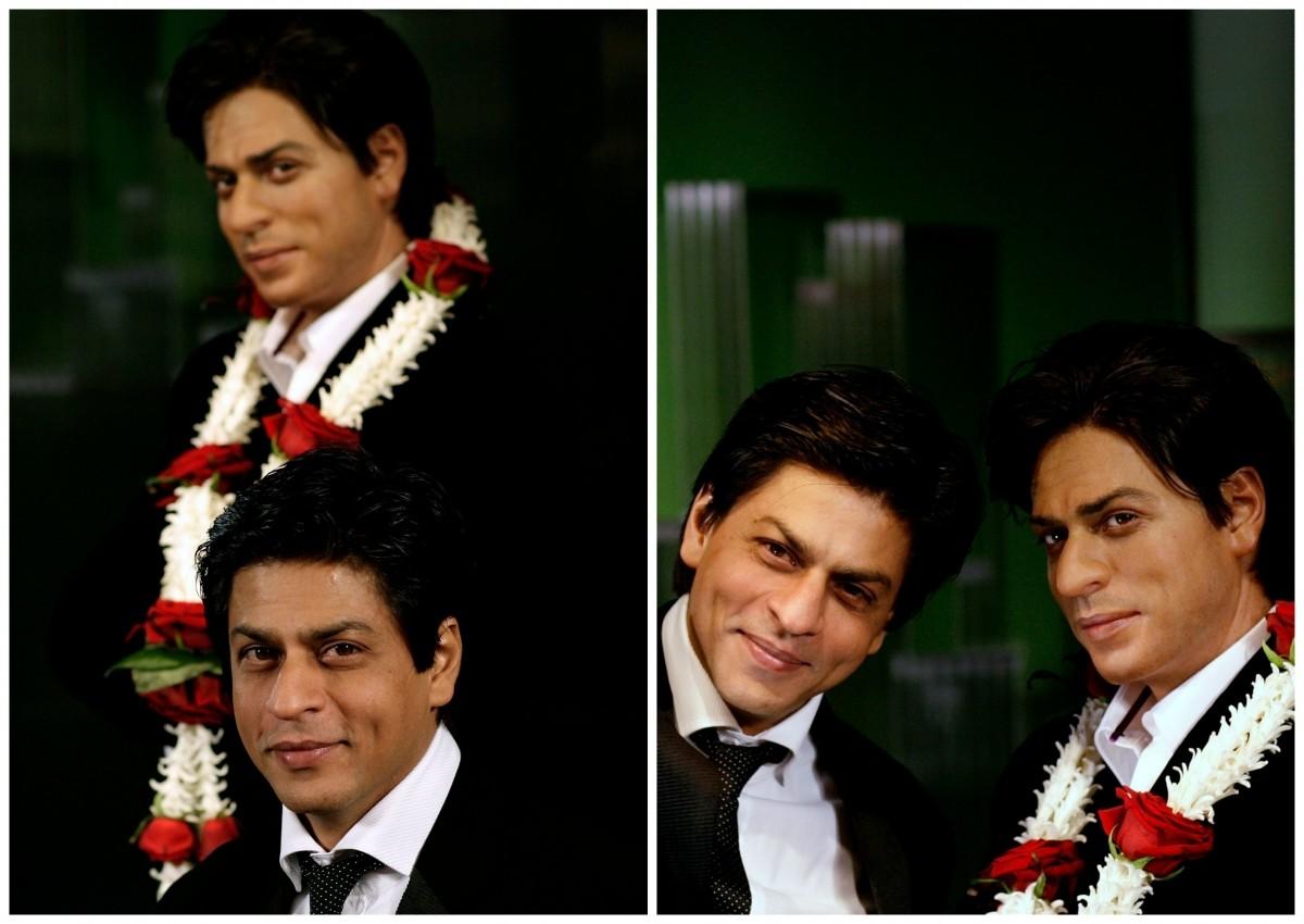Shah Rukh Khan with his wax statue