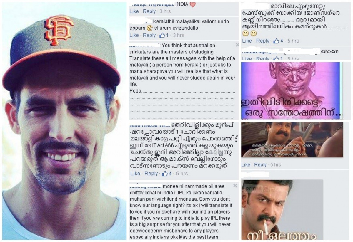 Mitchell Johnson's Facebook page is filled with abusive comments