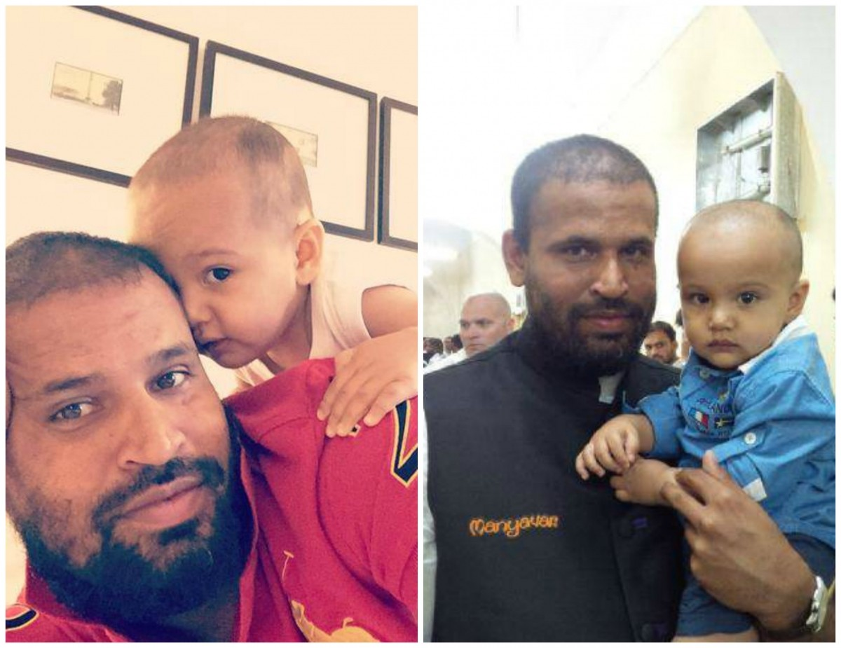 Yusuf Pathan with his son
