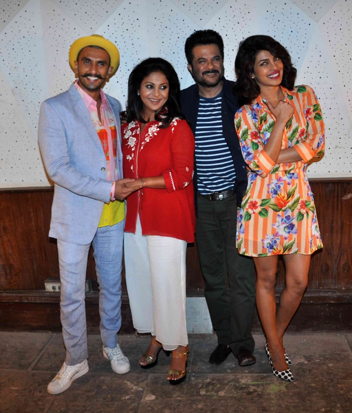 Ranveer Singh, Shefali Shah, Anil Kapoor and Priyanka Chopra during 'Dil Dhadakne Do' press meet