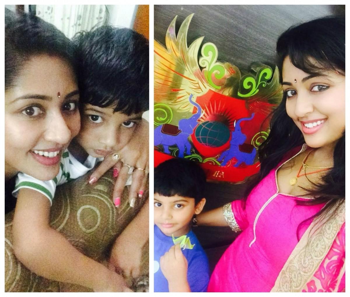 Navya Nair with son Sai Krishna Menon