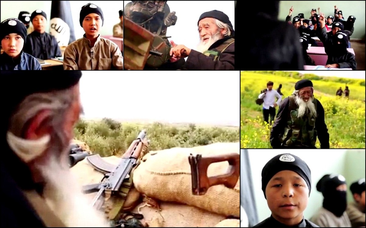 An Isis propaganda video shows an 80-year old Muslim man from China declaring to fight for Isis in Syria.
