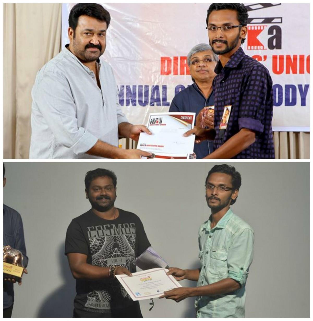 Liju Thomas receives award from Mohanlal and Saji Surendran