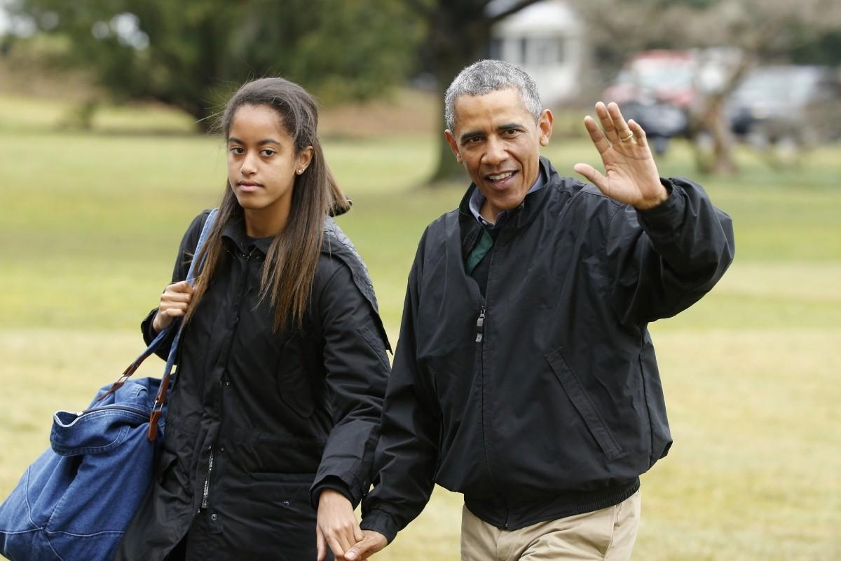 Malia Obama with father and US president Barack Obama