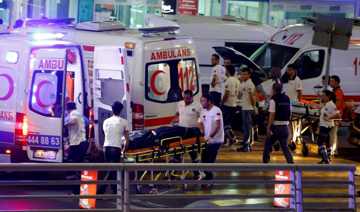 Ambulances arrive at Turkey's largest airport, Istanbul Ataturk, Turkey, following a blast June 28, 2016.