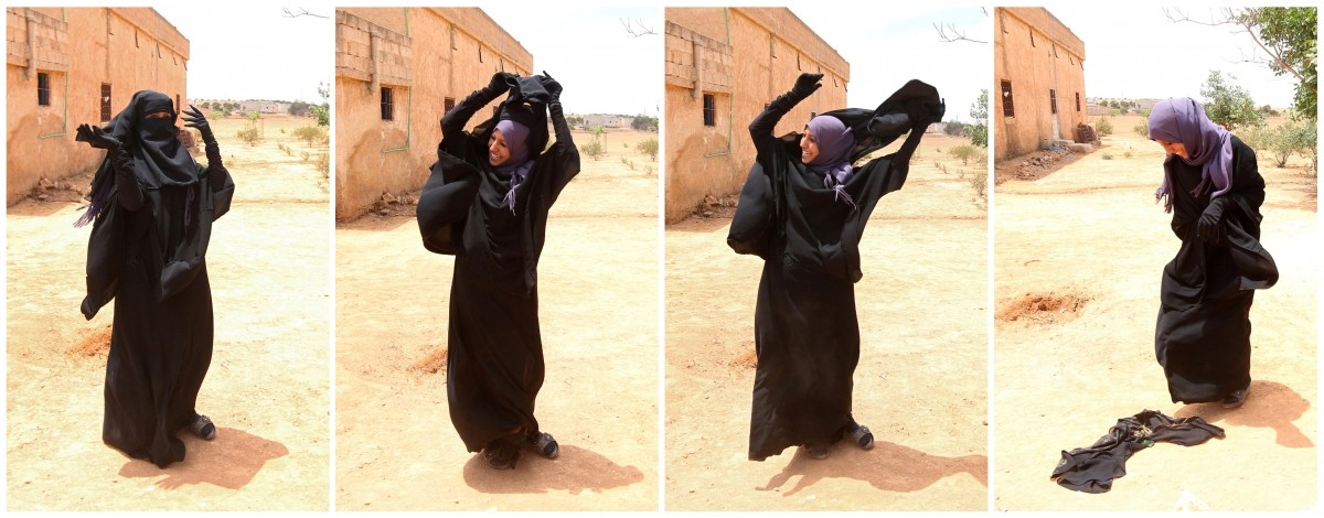 A combination picture shows Souad Hamidi, 19, removing the niqab she said she had been forced to wear since 2014, after U.S.-backed Syria Democratic Forces took control of her village Am Adasa in northern Syria from Islamic State fighters, in the outskirts of Manbij, Aleppo province, Syria June 9, 2016.