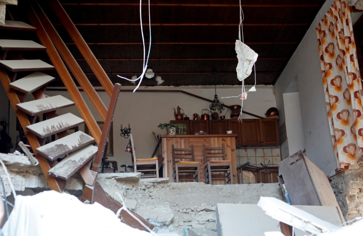 The interior of a house is seen after a quake in Amatrice, central Italy, August 24, 2016.
