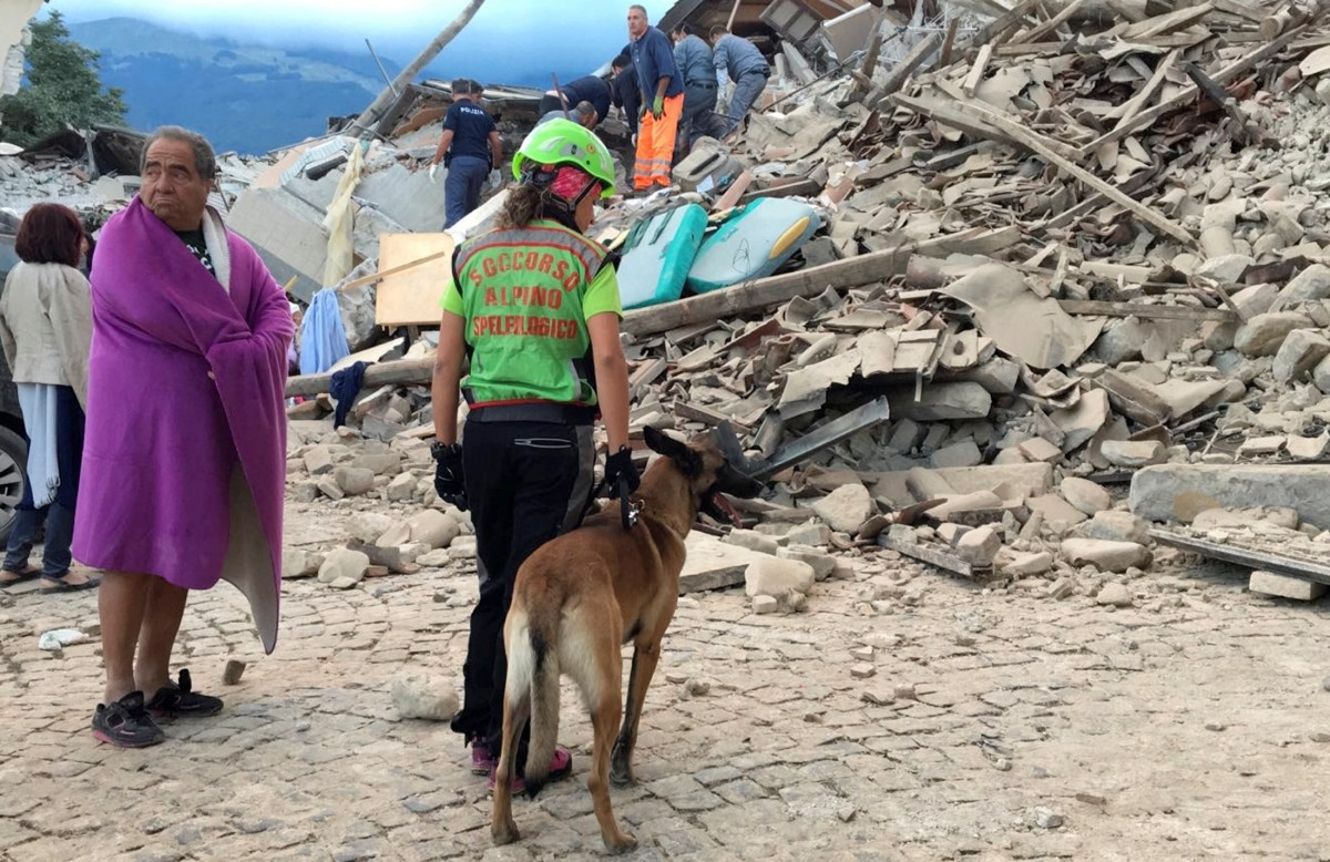 A man wrapped in a blanket looks on as a rescuer with a dog stand in front a collapsed house following a quake in Amatrice, central Italy, August 24, 2016.