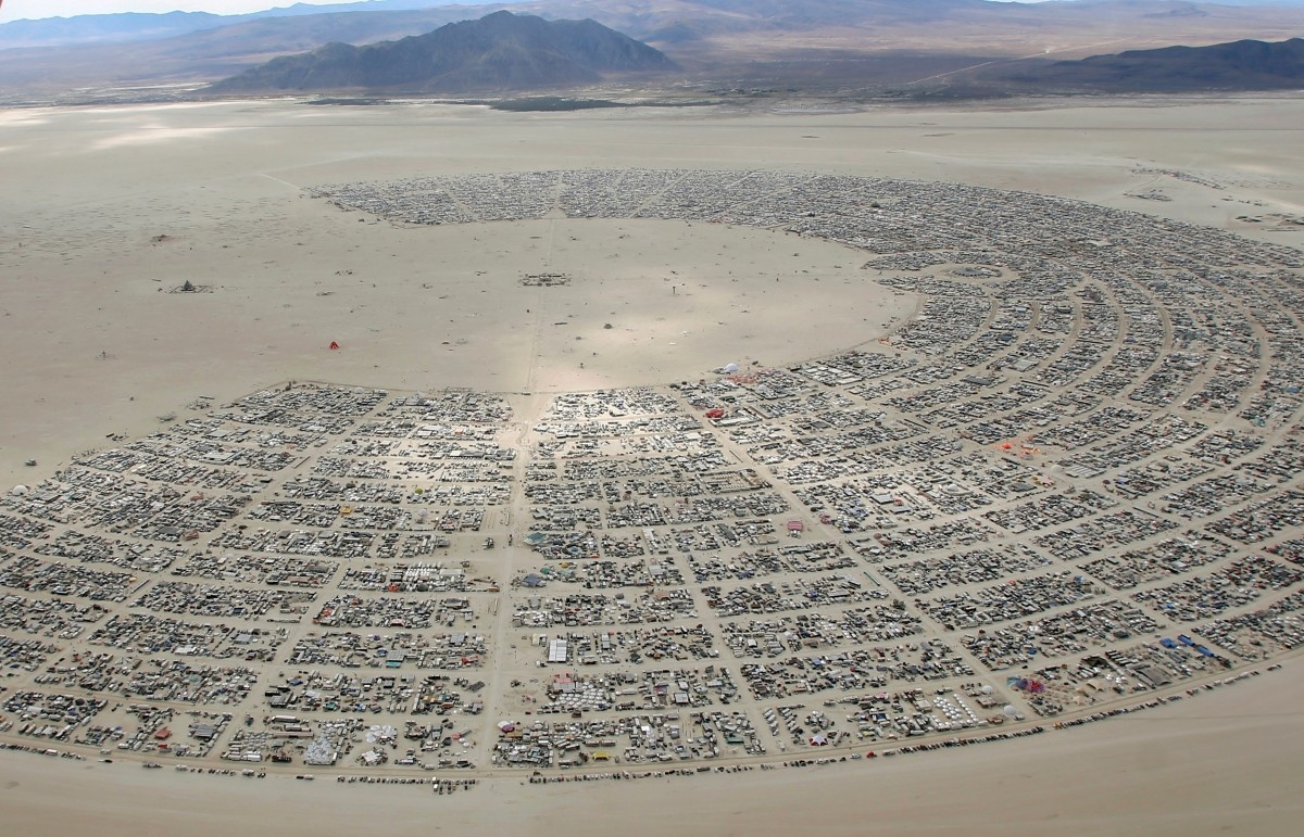 An aerial view as approximately 70,000 people from all over the world gather for the 30th annual Burning Man arts and music festival in the Black Rock Desert of Nevada, U.S. August 31, 2016.