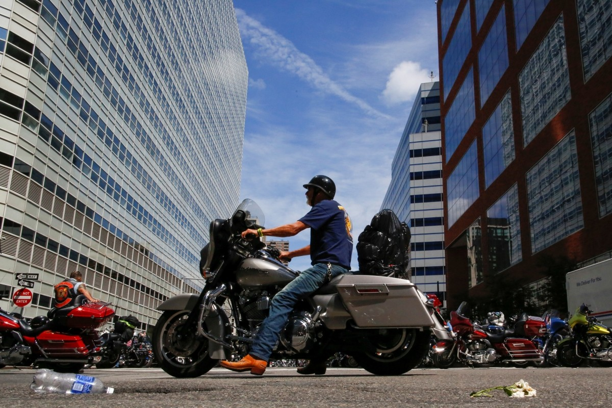 Bikers take part in the America's 911 Ride