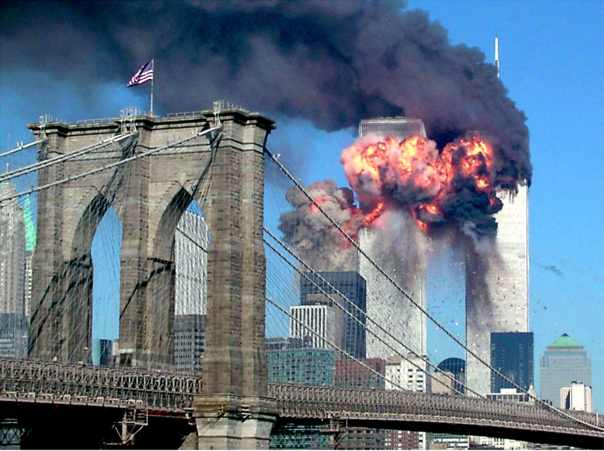 The second tower of the World Trade Center bursts into flames after being hit by a hijacked airplane in New York September 11, 2001.