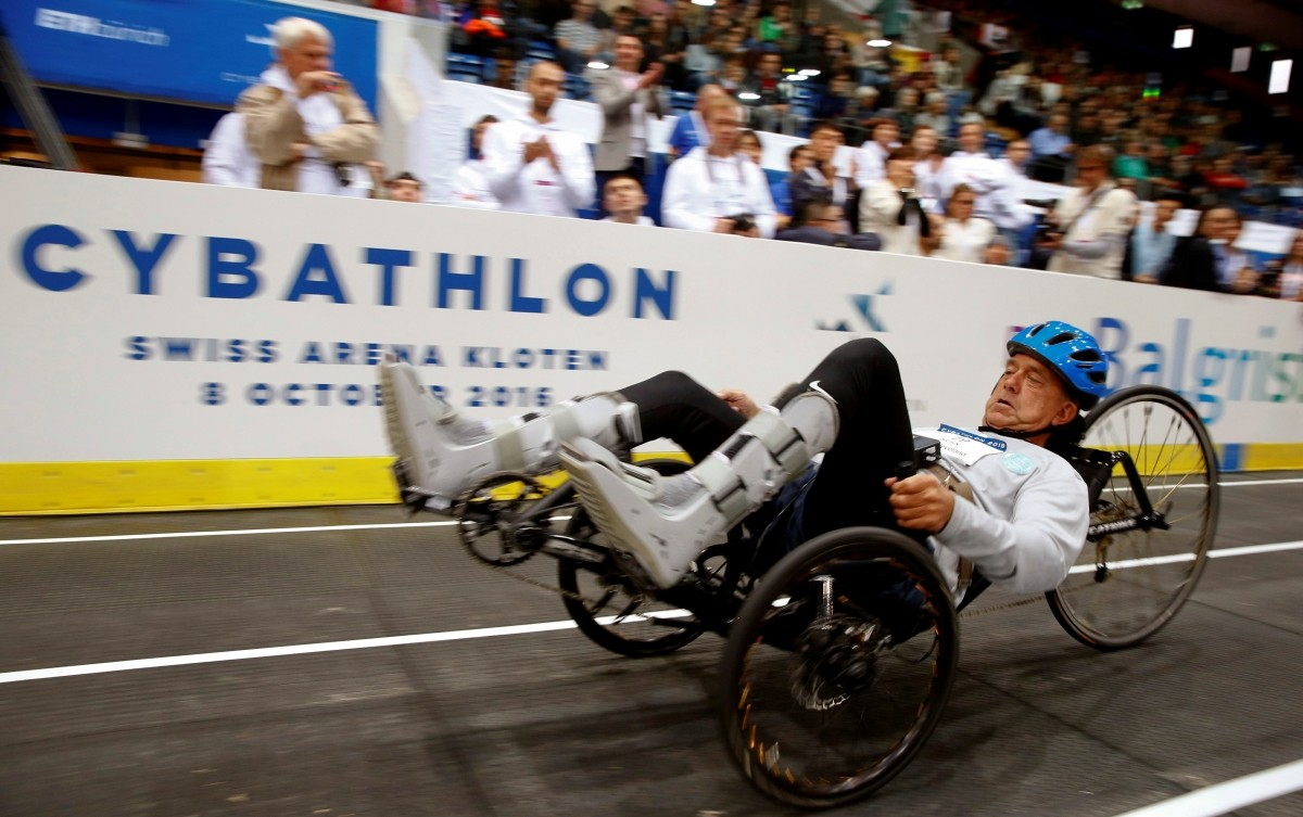Michael McClellen of the U.S. competes during the Functional Electrical Stimulation Bike Race at the Cybathlon Championships in Kloten, Switzerland October 8, 2016
