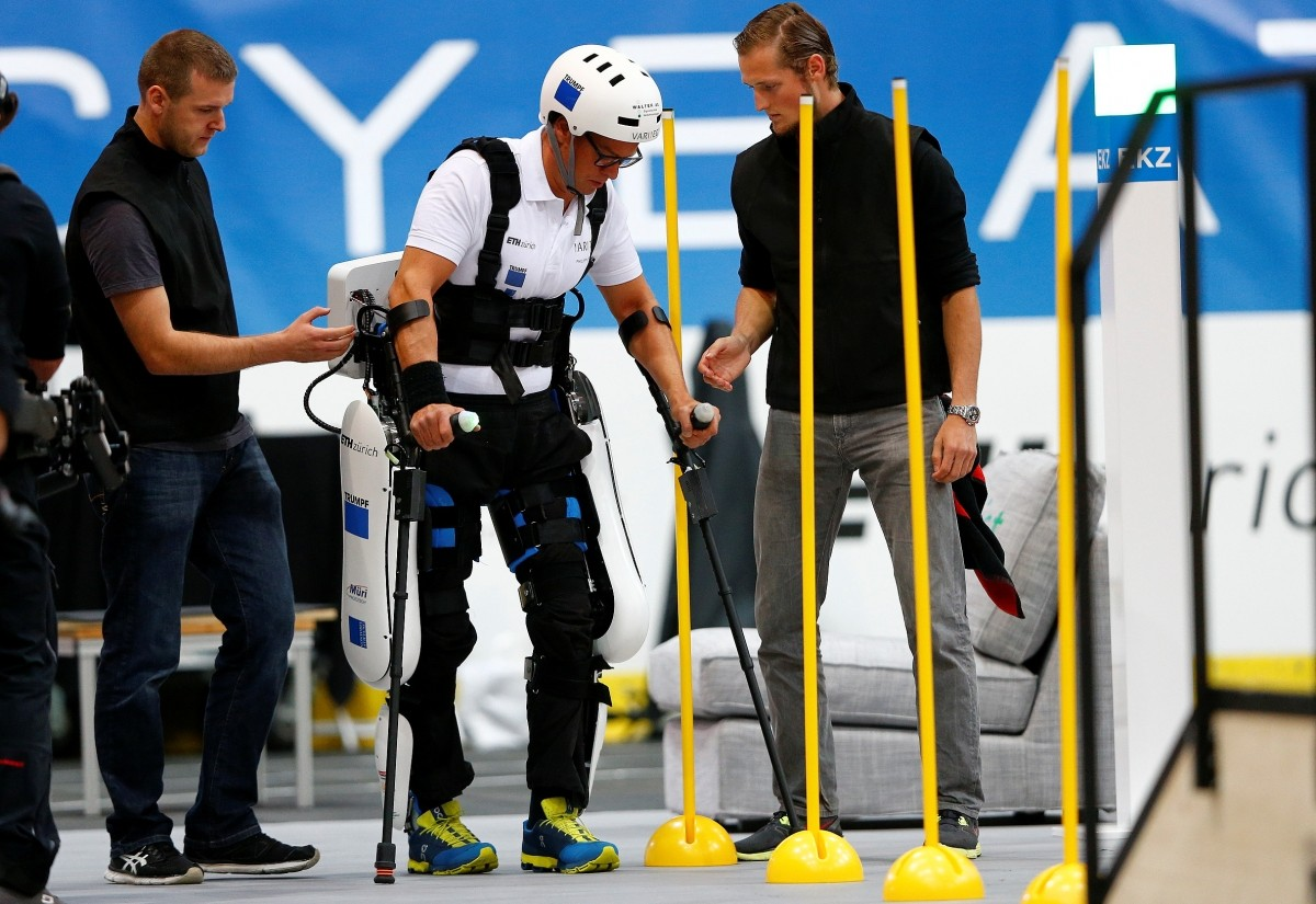 Philipp Wipfli of Switzerland competes during the Powered Exoskeleton Race at the Cybathlon Championships in Kloten, Switzerland October 8, 2016.