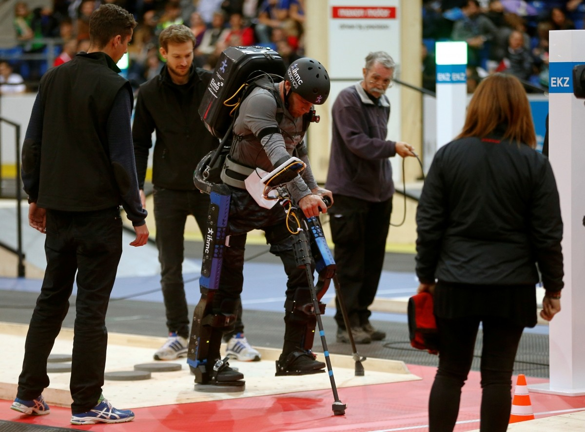 Mark Clayton Daniel of the U.S. competes during the Powered Exoskeleton Race at the Cybathlon Championships in Kloten, Switzerland October 8, 2016.