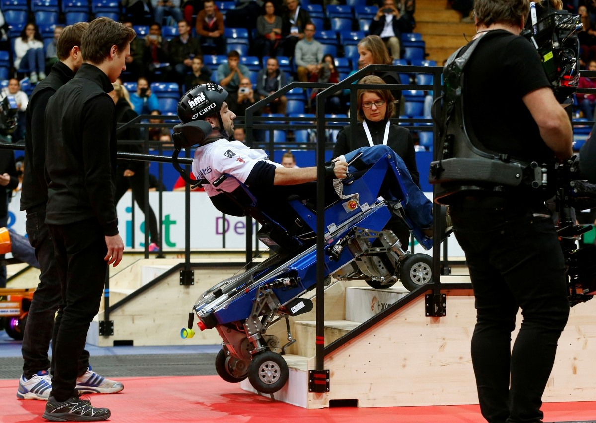 Florian Hauser of Switzerland competes during the Powered Wheelchair Race at the Cybathlon Championships in Kloten, Switzerland October 8, 2016.