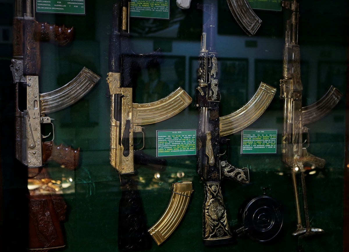 Guns decorated with gold are displayed in the Drugs Museum, used by the military to showcase to soldiers the lifestyles of Mexican drug lords, at the headquarters of the Ministry of Defense in Mexico City, October 14, 2016.