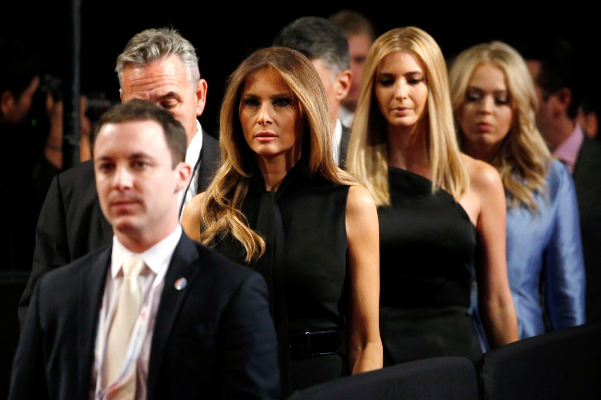 Melania Trump (2nd L-R), wife of Republican U.S. presidential nominee Donald Trump, and his daughters Ivanka Trump and Tiffany Trump attend Trump's third and final 2016 presidential campaign debate against Democratic U.S. presidential nominee Hillary Clinton at UNLV in Las Vegas, Nevada, U.S., October 19, 2016.