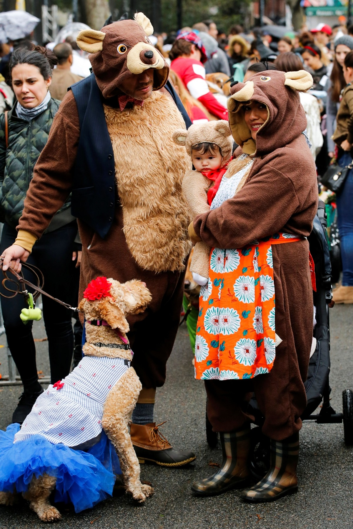 Revellers take part in the annual halloween dog parade at Manhattan's Tompkins Square Park in New York, U.S. October 22, 2016.