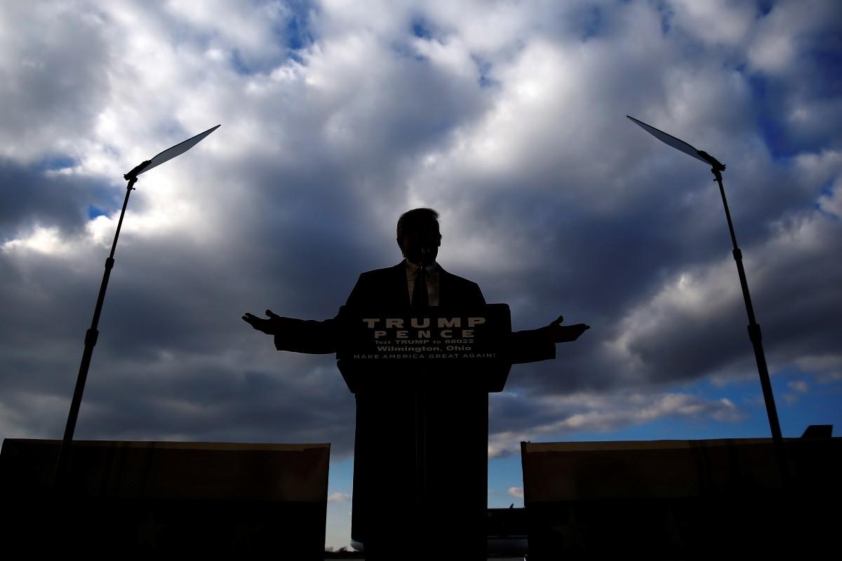 Donald Trump attends a campaign event in Wilmington, Ohio. November 4, 2016