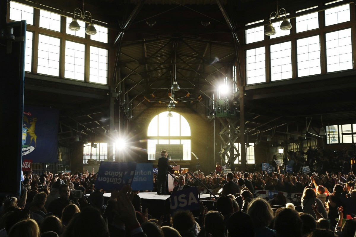 Hillary Clinton speaks at a campaign rally in Detroit, Michigan.