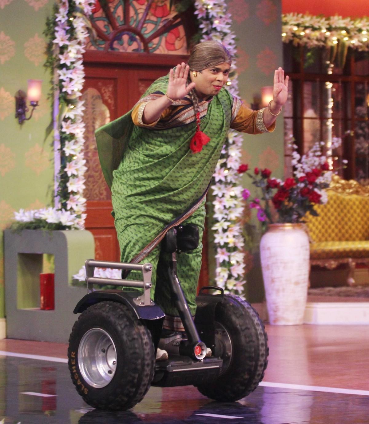 Pankhuri enters on a self-balancing two-wheeler